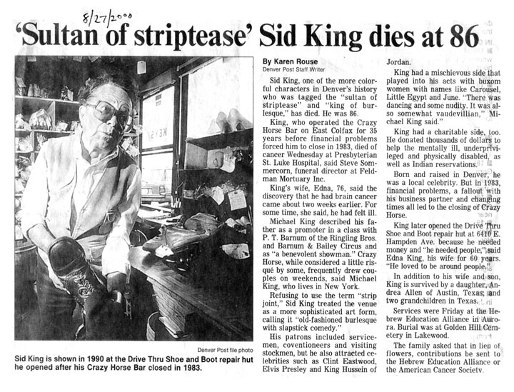 Sid King Obituary, 8/27/2000