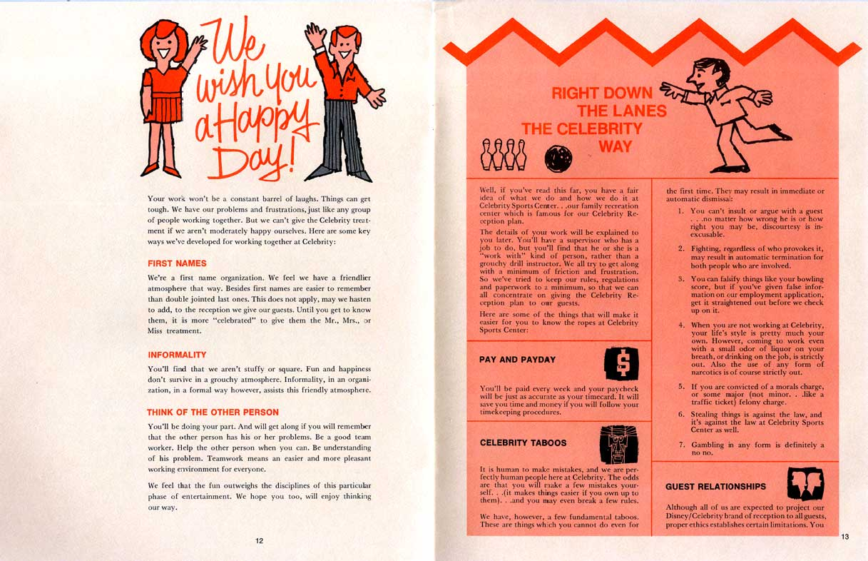 Pages from the Celebrity Employee Manual