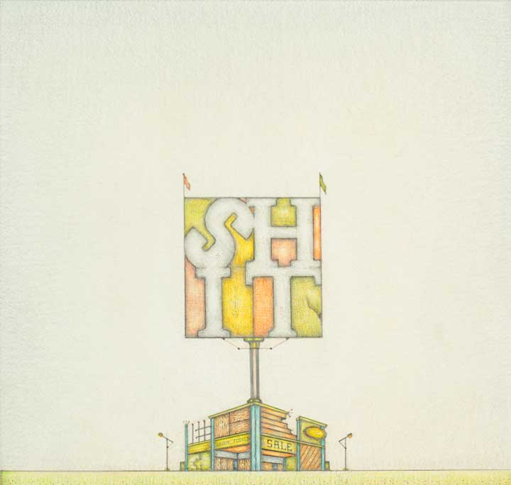 "LANDSCAPE WITH STORE (HARD TIMES I), Pencil/Colored Pencil, 18"" by 18\"", by Bill Amundson"