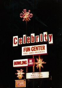 The Celebrity Sign at Night