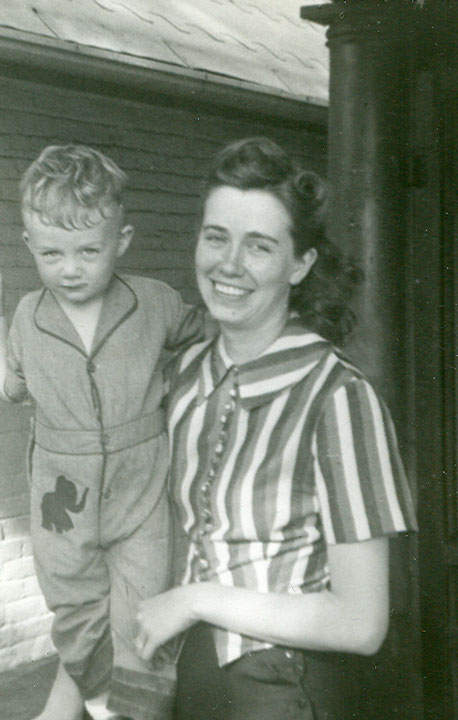 My beautiful mother, Nellie Flaherty, and I (in elephant pants) on the porch of 2825 Hooker in North Denver (circa 1944).