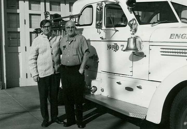 My father, William J Gallagher, Jr., and I in front of old Engine Company #7 at West 36th and Tejon St (circa 1975)