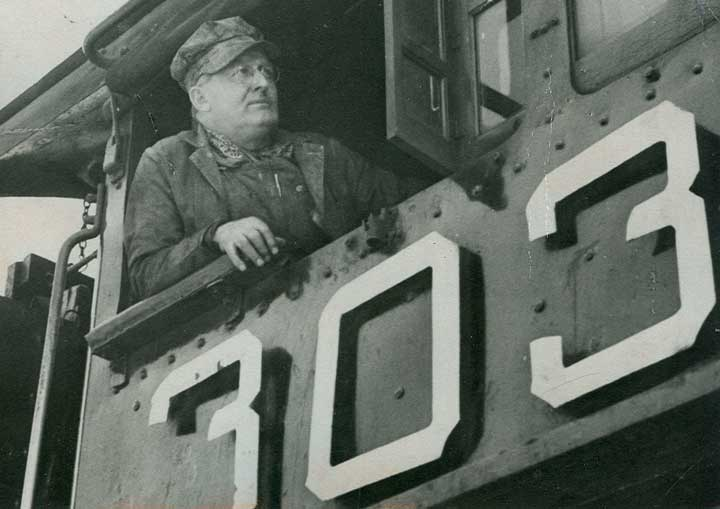 My grandfather, William J. Gallagher, Sr., in the cab of the old 303 engine on the Rio Grande Railroad (circa 1950).