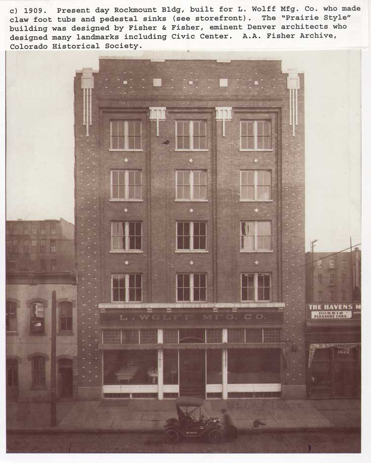 The Wolff Building, circa 1909. Designed by Fisher & Fisher. Photo Courtesy of the Colorado Historical Society.