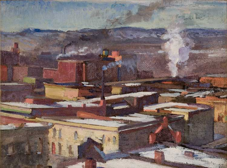 H. David Spivak (1893 - 1932), Denver Rooftops nd, oil on board