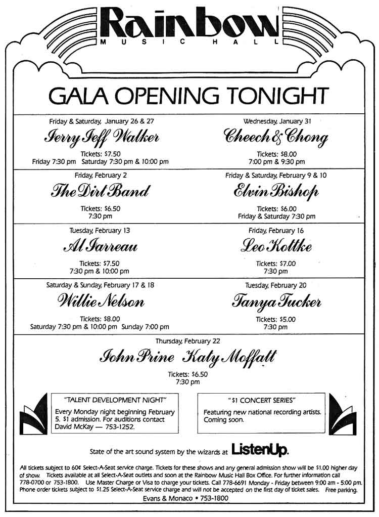 Rainbow Music Hall Gala Opening Tonight, January 26th, 1979